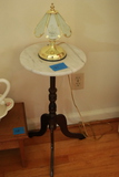 Marble Top Table & Brass Lamp