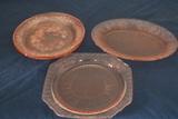 4 Depression Glass Plates