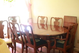 Cherry Dining Room Table, 7 Chairs, & 1 Leaf