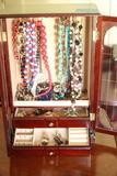 Jewelry Box & Assorted Costume Jewelry, Sterling Silver Jewelry, Etc.