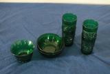 4 Green Glasses & 3 Bowls