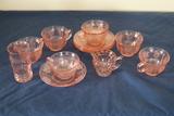 Assorted Pink Depression Glass