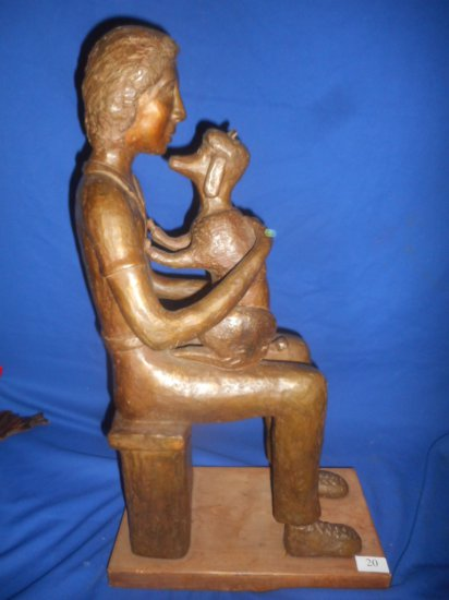 BRONZE STATUE SON WITH DOG