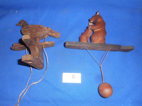PAIR WOODEN TOYS HAND CARVED