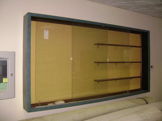 "2 sliding glass door display cabinets 87 ½"" W x 9"" D x 49 ¾"" H Laminate fra"