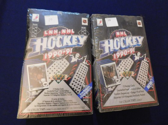 (2) UPPER DECK SEALED HOCKEY PACK BOXES 1990-91 ENGLISH & FRENCH