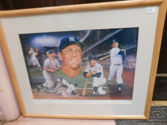 LARGE FRAMED MICKEY MANTLE LITHOGRAPH NUMBERED 225/1000- SIGNED BY ARTIST T