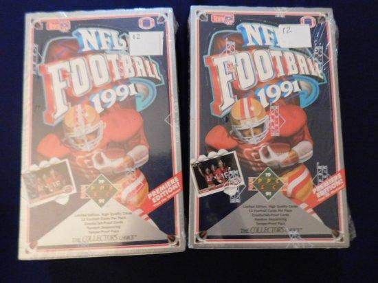 (2) 1991 UPPER DECK FOOTBALL SEALED BOX OF PACKS