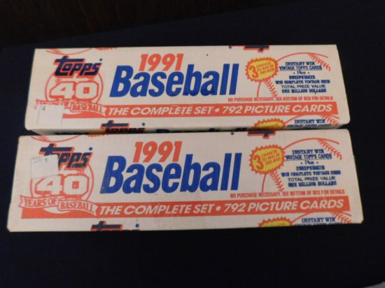 (2) 1991 TOPS BASEBALL FACTORY SETS- CHIPPER ROOKIE