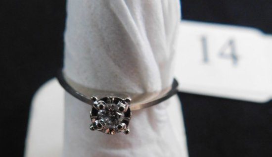 14K ENGAGEMENT RING, APPROXIMATELY .11  PT. OLD-CUT DIAMOND, D.W.T. 1.4 , S