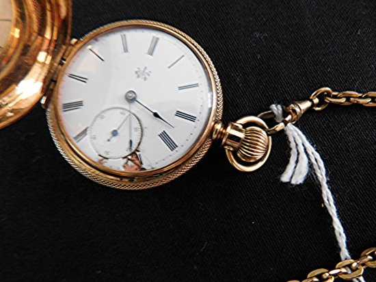 14K GOLD W L DUFEU POCKET WATCH GOLD FILLED CHAIN, FACE CHIPS