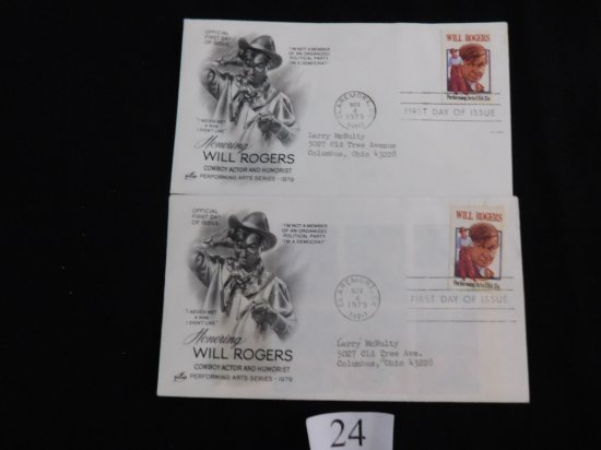 2 STAMP COVERS, TWO FIRST-DAY COVERS, WILL ROGERS