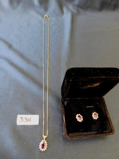 AMETHYST DIAMOND EARRINGS PEAR SHAPE PENDENT