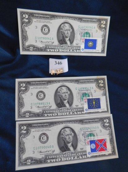 14K LINKS AND (3) $2.00 BILLS
