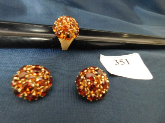 18K YELLOW GOLD CITRINE EARRINGS AND RING SIZE 7