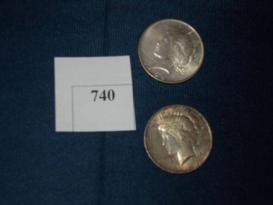 1922 P, 1924 P , PEACE DOLLARS