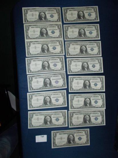 (15) crisp silver certificates