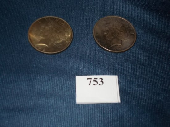 (2) 1922 P  PEACE DOLLARS
