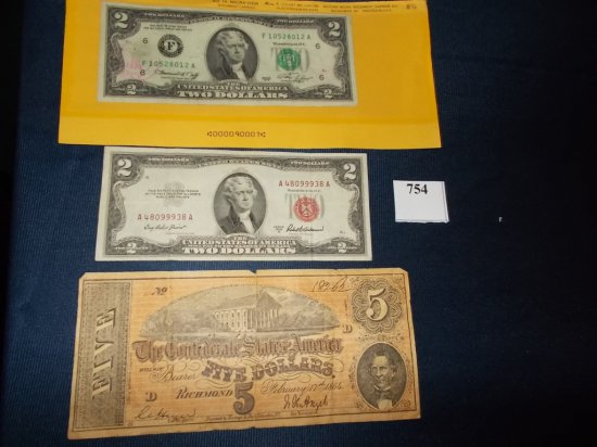 """1953A RED SEAL $2.00 NOTE, 1976 $2.00 NOTE W/ POSTAL CANCELATION """"FAKE"""" $ 5"""