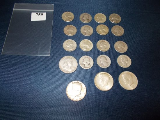 (15) WASHINGTON QUARTERS, 1952 D FRANKLIN HALF, (3) 1964 KENNEDY HALF