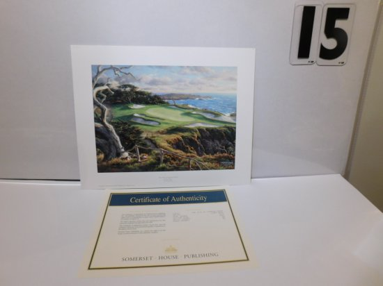 """LARRY DYKE """"15TH AT CYPRESS POINT"""" COA LIMITED EDITION 960/1200, SIZE 15"""" X"""