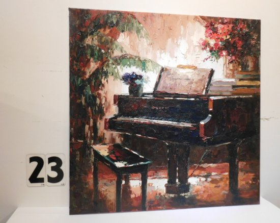 """V. JIMMINY OIL ON CANVAS 30"""" X 30"""" """"CONCERT"""" PALET KNIFE PAINTING $600"""