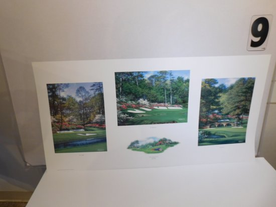 """LARRY DYKE """"GOLFS GREATEST CORNER"""" MONTAGE OF 3 LIMITED EDITION PRINT, #253"""