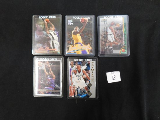 5 DIFFERENT BASKETBALL ROOKIE CARDS INCL. FUTURE HALL OF FAMERS; TIM DUNCAN