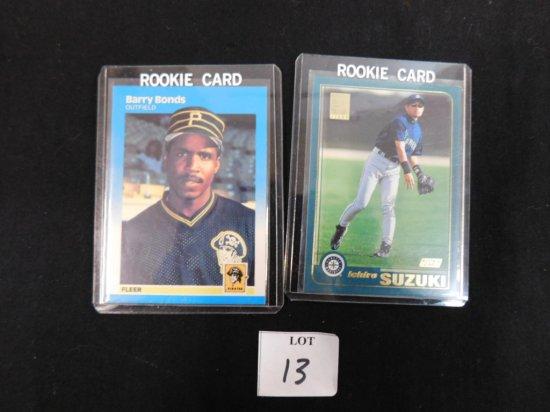 1987 BARRY BONDS FLEER ROOKIE CARD #604 & 2001 TOPPS ICHIRO ROOKIE CARD #72