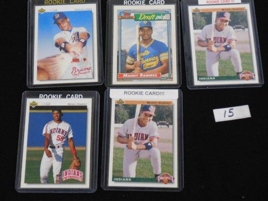 (5) ROOKIE CARDS; 1992 CHIPPER JONES U.D. MINOR LEAGUE #165, 1992 TOPPS MAN