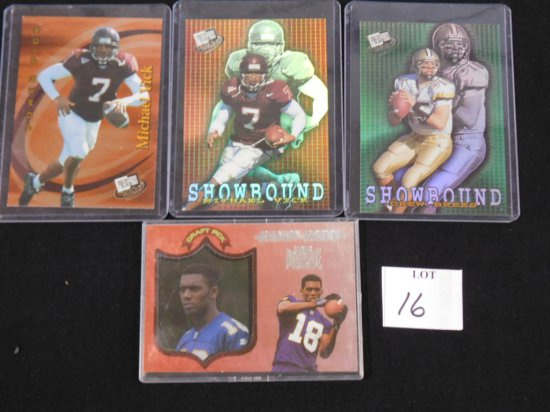 (4) FOOTBALL STAR CARDS: 1998 PLAYOFF ABSOLUTE SSD #40, 2001 PRESS PASS DRE