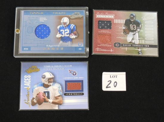 (3) DIFFERENT MEMORABILIA CARDS: 2001 PLAYOFF ABSOLUTE LEATHER & LACES STEV