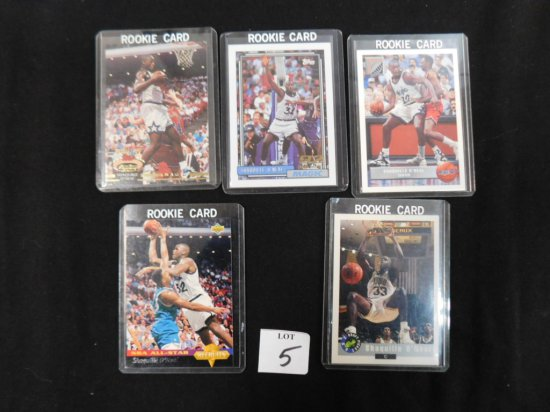 """(5) DIFFERENT SHAQUILLE O""""NEAL ROOKIE CARDS; 1992-93 STADIUM CLUB #247, 199"""