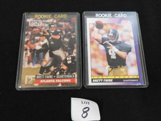 (2) BRETT FAVRE (HOF) ROOKIE CARDS: 1991 SCORE #611, 1991 PRO SET #762 NEAR