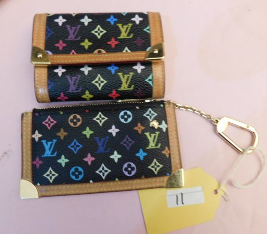 LOUIS VUITTON WALLET & CHANGE PURSE, (NEW),BLACK