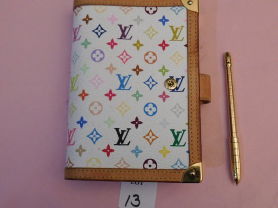 LOUIS VUITTON ORGANIZER WITH PEN, (NEW), WHITE