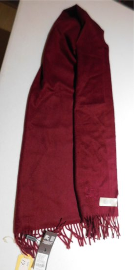 BURBERRY SCARF NEW WITH TAG, MAROON, 100% CASHMERE, 168 X 30CM