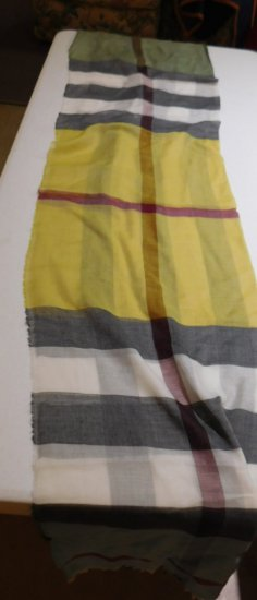 BURBERRY SCARF, 180 CM X 70 CM, YELLOW, GREEN, BLUE BLACK PLAID