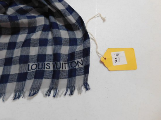 LOUIS VUITTON SCARF, BLUE PLAID