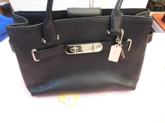 "COACH HANDBAG (NEW), BLACK IN COLOR, 13"" W X 10"" LONG X 6"" DEEP"