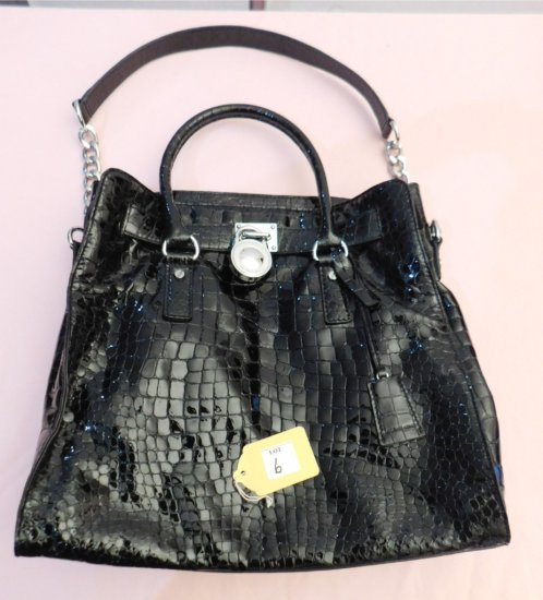 "MICHAEL KORS HANDBAG (NEW),  ALIGATOR LOOKING, BLACK, 13"" W X 13"" LONG X 5"