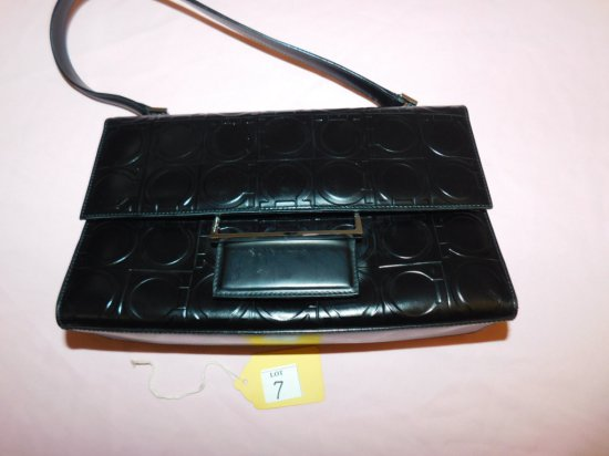 SALVADORE FERRAGAMO HANDBAG, (NEW), BLACK WITH RED INTERIOR, #BA21 0854