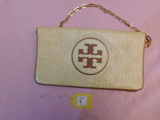 "TORY BURCH HANDBAG/ CLUTCH, (NEW), YELLOW IN COLOR, 12 1/2"" WIDE X 7"""