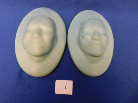PAIR VAN BRIGGLE WALL PLAQUES WITH INDIAN HEAD MALE WITH FEATHER MARKED ON