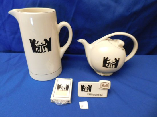 HALL SILHOUETTE WATER PITCHER, TEA POT, SIGN & PLAYING CARD. PITCHER MEASUR