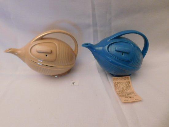 HALL FOOTBALL SHAPED TEAPOTS SET OF 2 COLONIAL BLUE 123/300 & SANDUST GLAZE