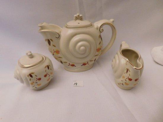 HALL JEWEL TEA NAUTILAS TEA POT SET WITH CREAMER & SUGAR 1996/1997