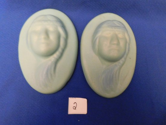 PAIR VAN BRIGGLE WALL PLAQUES WITH INDIAN HEAD FEMALE, MARKED ON BACK CB, O