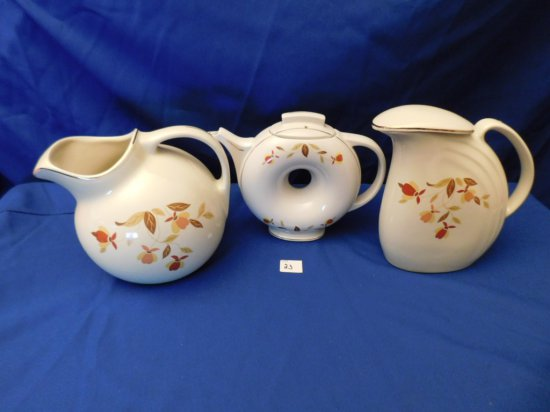 HALL AUTUMN LEAF WATER PITCHER (2) & A DOUGHNUT SHAPED TEA POT