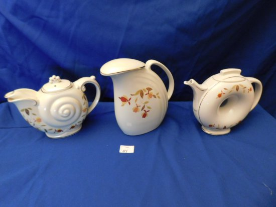 HALL AUTUMN LEAF JEWEL TEA WATER PITCHER, NAUTILAS TEA POT & DOUGHNUT TEA P